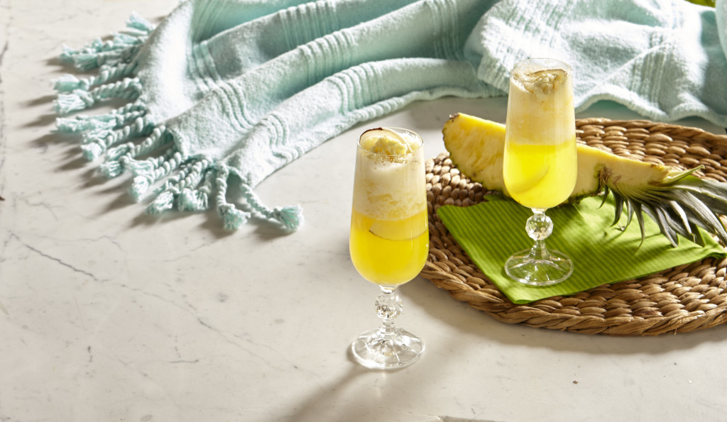 COCONUT PINEAPPLE SORBET BELLINI MOCKTAIL