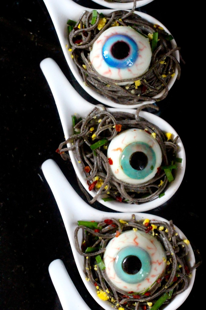 Garlicky Black Bean Spaghetti Spoons with Deviled Eyes