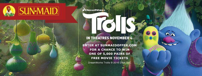 Trolls Sunmaid giveaway
