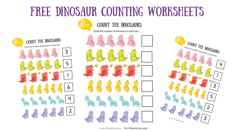 photo regarding Free Printable Counting Worksheets called 1StopMom - No cost Printable Dinosaur Counting Worksheets