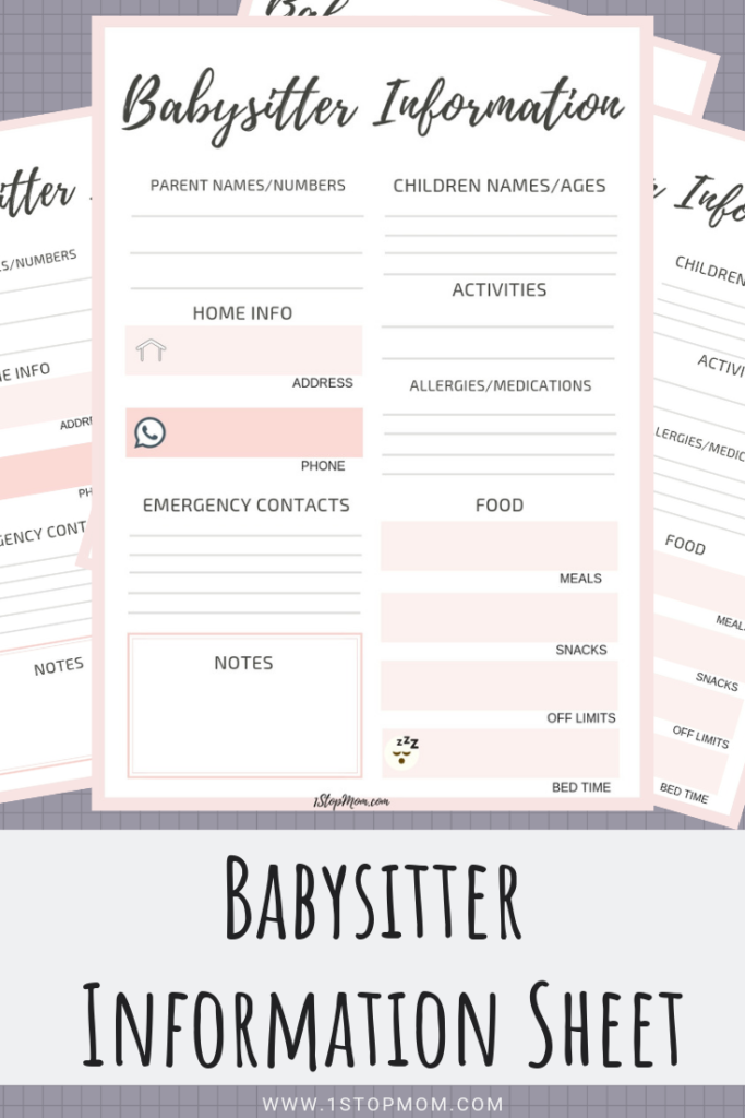 photograph about Babysitter Info Sheet Printable referred to as 1StopMom - Day Evenings Need to Haves. For The Babysitter