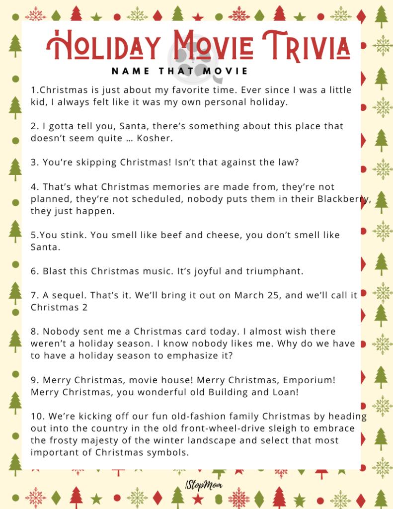 1stopmom Milwaukee Wisconsin Lifestyle Parenting Blog Free Holiday Movie Trivia Printables 1stopmom Milwaukee Wisconsin Lifestyle Parenting Blog