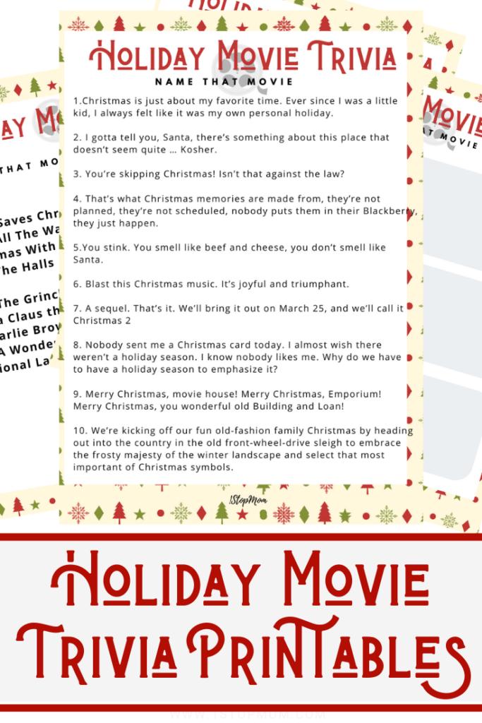 1StopMom – Milwaukee Wisconsin Lifestyle Parenting Blog - Free Holiday Movie Trivia Printables ...